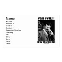 Wizard Of Wireless Nikola Tesla (1856-1943) Double-Sided Standard Business Cards (Pack Of 100)