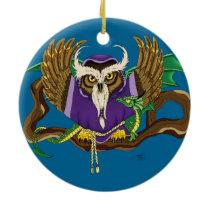 Wizard Owl & Dragon Ceramic Ornament