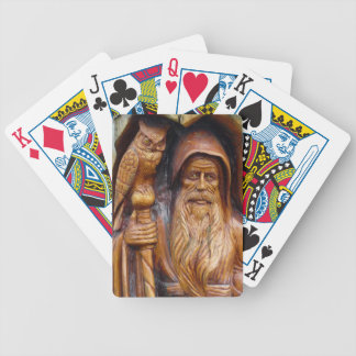 Wizard & Owl Emerge from Cave Wood Carving Bicycle Playing Cards
