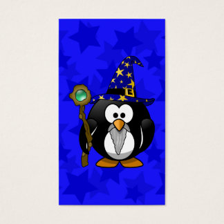 Wizard Penguin Cartoon Star Background Business Card