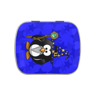 Wizard Penguin Cartoon Star Background Candy Tin