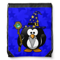 Wizard Penguin Cartoon Star Background Drawstring Bag