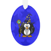 Wizard Penguin Cartoon Star Background Ornament
