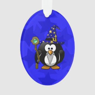 Wizard Penguin Cartoon Star Background Ornament