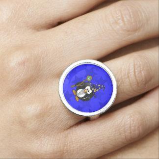 Wizard Penguin Cartoon Star Background Ring