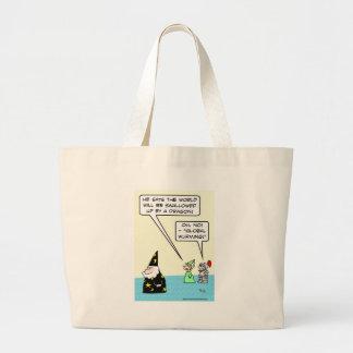"Wizard predict ""Global Wurming."" Large Tote Bag"