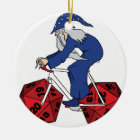 Wizard Riding Bike With 20 Sided Dice Wheels Ceramic Ornament