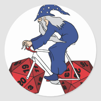 Wizard Riding Bike With 20 Sided Dice Wheels Classic Round Sticker