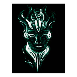 Wizard s glowing green face post card