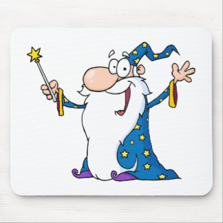 Wizard Waving And Cape Holding A Magic Wand Mouse Pad
