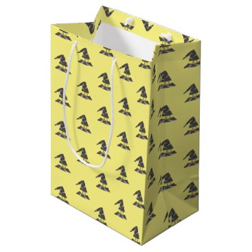Halloween Themed Wizard's hat pattern yellow gift bag