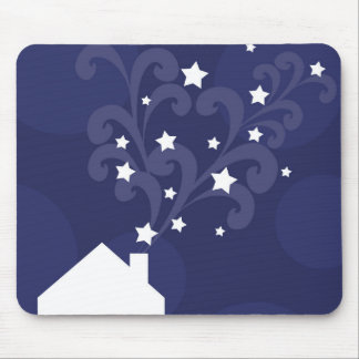 Wizards house chimney puffs stars magic silhouette mouse pad