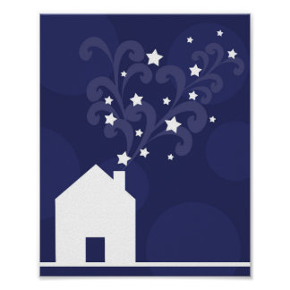 Wizards house puffs stars magic chimney silhouette poster