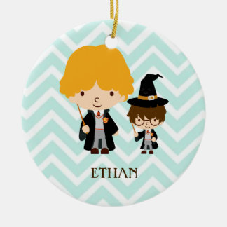 Wizards Magician Brothers on Chevron Background Ceramic Ornament