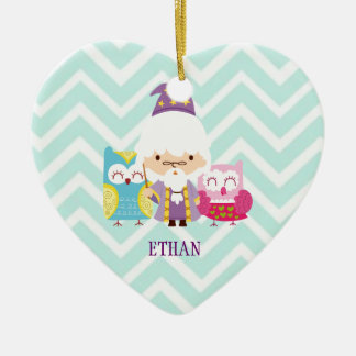 Wizards Wands & Owls Colorful Set on Chevron Ceramic Ornament