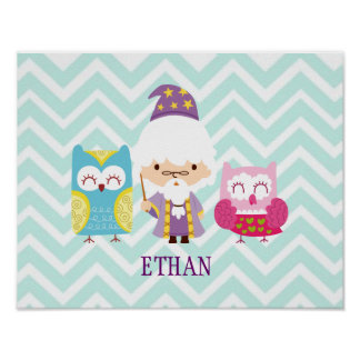 Wizards Wands & Owls Colorful Set on Chevron Poster