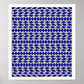 WKJ American Indian Theme Design P1/D1  Dark Blue Print