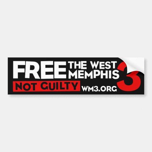 WM3 NOT GUILTY bumper sticker
