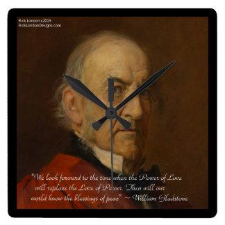 Wm Gladstone & Power Of Love Quote Wall Clock