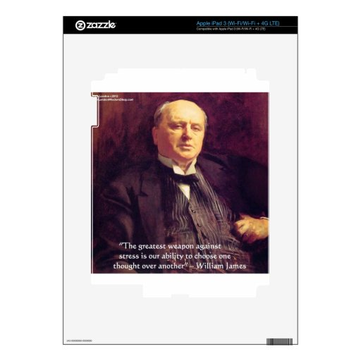 """Wm James """"Curing Stress"""" Wisdom Quote Gifts Skin For iPad 3"""