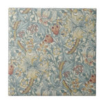 """Wm Morris Arts &amp; Crafts Golden Lily Repro Tile<br><div class=""""desc"""">William Morris (1834-1896) was a prolific English textile designer,  artist,  writer,  illustrator,  medievalist and socialist. He believed good design should be available to everyone. &quot;Golden Lily&quot; was designed by John Henry Dearle in 1899.</div>"""