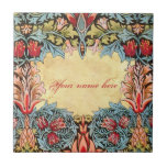 """Wm Morris Pre-Raphaelite Customizable Tile<br><div class=""""desc"""">Customize this beautiful tile featuring the Vintage Pre Raphaelite William Morris Snakeshead design by adding your own name or any other text you can think of! Use the decorative font shown here or choose from one of the hundreds of other very cool fonts available! Although the title itself may conjure...</div>"""