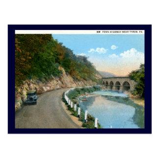 Wm. Penn Highway, Tyron PA Vintage Post Card