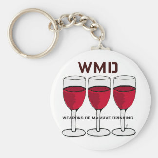 "WMD...""WEAPONS OF MASSIVE DRINKING"" WINE PRINT BASIC ROUND BUTTON KEYCHAIN"