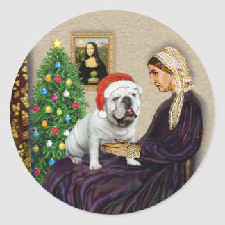 WMom Xmas (R) - English Bulldog 1 Round Sticker