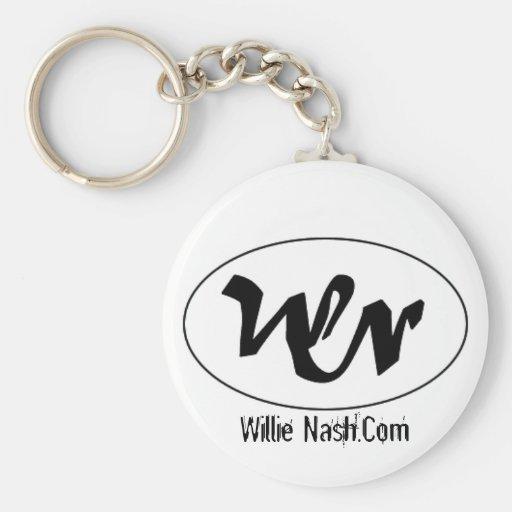 wn logo, Willie Nash.Com Basic Round Button Keychain