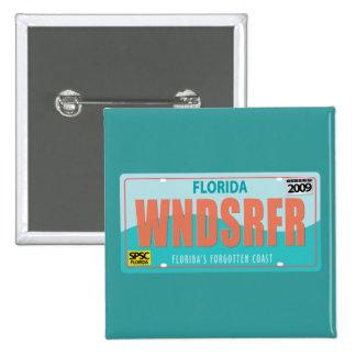 WNDSRFR License Plate 2 Inch Square Button