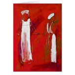 wo nurses in white painting in acrylic by Kay Gale Card