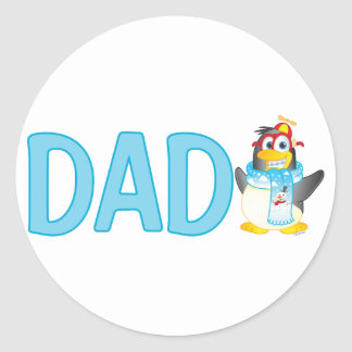 Wobble Penguin Cartoon Character for Dad - Classic Round Sticker