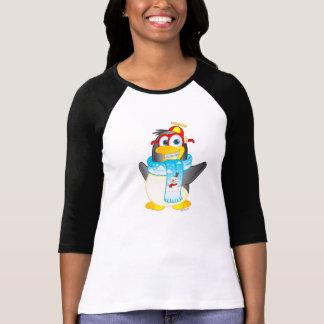 Wobble Penguin Cartoon on Women's Raglan Shirt
