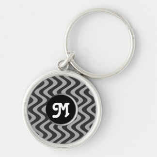 Wobbly Waves (Black/Grey) (Monogram) Keychain