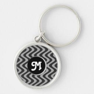 Wobbly Waves (Black/Grey) (Monogram) Keychain