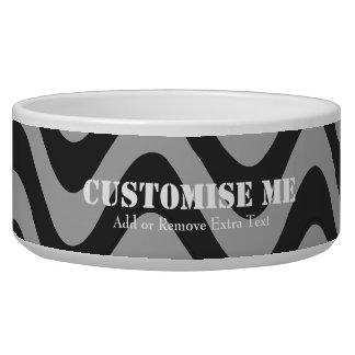 Wobbly Waves (Black/Grey) Dog Food Bowls