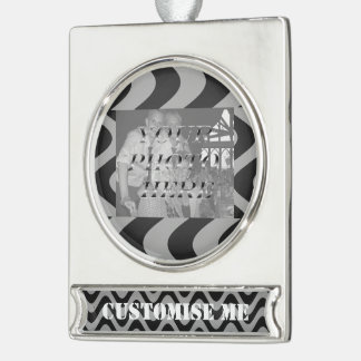 Wobbly Waves (Black/Grey) Silver Plated Banner Ornament