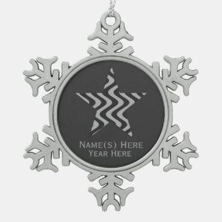 Wobbly Waves (Black/Grey) Star Snowflake Pewter Christmas Ornament