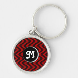 Wobbly Waves (Black/Red) (Monogram) Keychain
