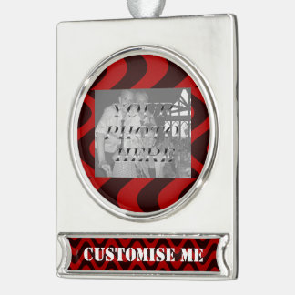 Wobbly Waves (Black/Red) Silver Plated Banner Ornament