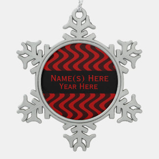 Wobbly Waves (Black/Red) Snowflake Pewter Christmas Ornament