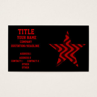 Wobbly Waves (Black/Red) Star Business Card