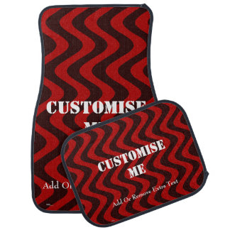 Wobbly Waves (Black/Red) Car Mat