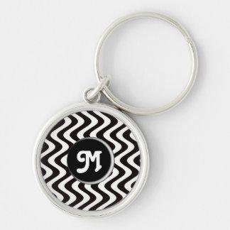 Wobbly Waves (Black/White) (Monogram) Keychains