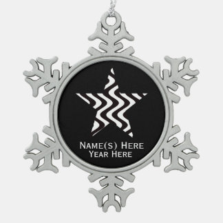 Wobbly Waves (Black/White) Star Snowflake Pewter Christmas Ornament