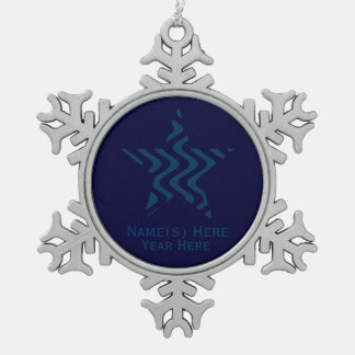 Wobbly Waves (Blue/Blue) Star Snowflake Pewter Christmas Ornament