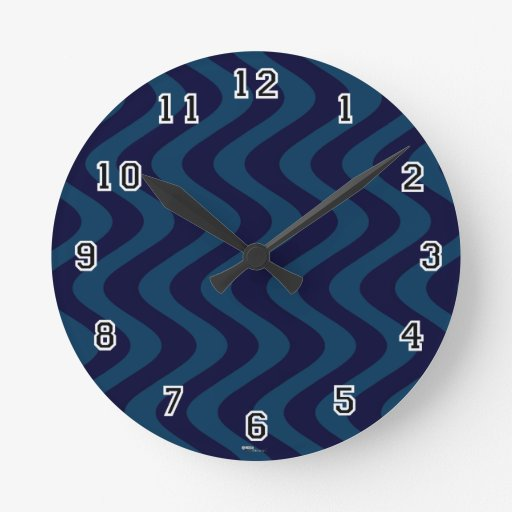 Wobbly Waves (Blue/Blue) Wall Clock