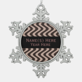 Wobbly Waves (Brown/Brown) Snowflake Pewter Christmas Ornament