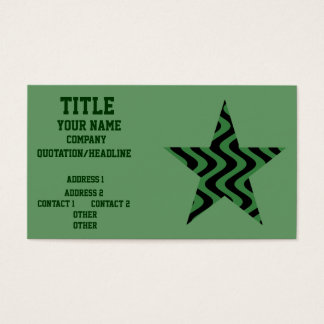 Wobbly Waves (Green/Black) Star Business Card
